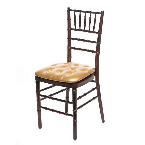 GOLD TUFTED CHIAVARI PAD W/ MAHOGANY CHIAVARI CHAIR