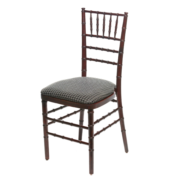 HOUNDS TOOTH CHAIR PAD W/MAHOGANY CHIAVARI CHAIR