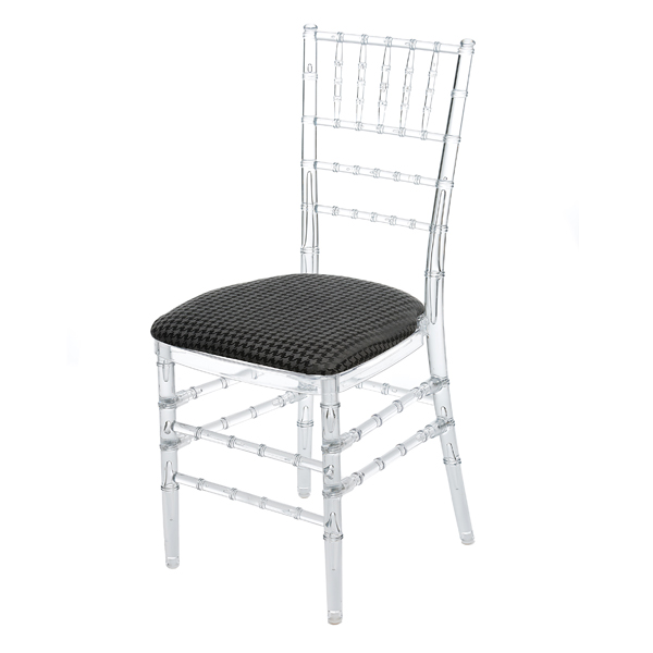 HOUNDS TOOTH CHAIR PAD W/CLEAR CHIAVARI CHAIR