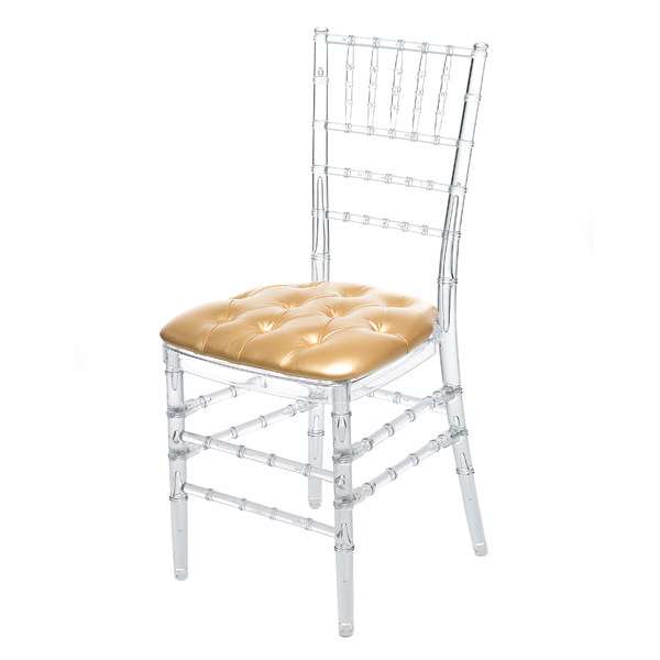 GOLD TUFTED CHIAVARI PAD W/ CLEAR CHIAVARI CHAIR