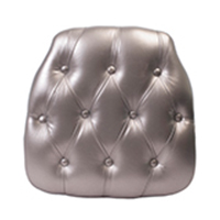 SILVER TUFTED CHIAVARI CHAIR PAD