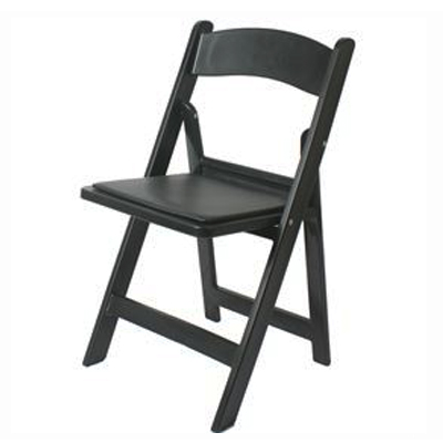 PADDED FOLDING CHAIR, BLACK