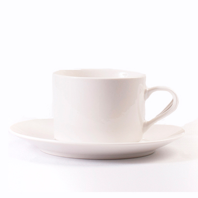 BRIGHT WHITE TEACUP & SAUCER