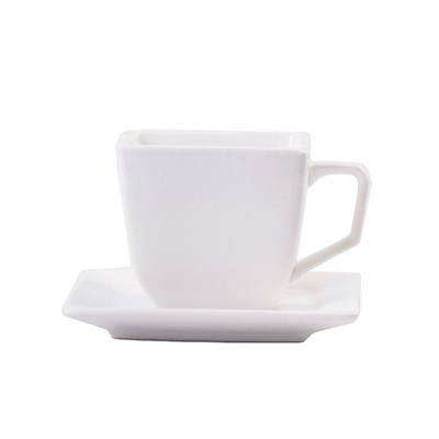 WHITE SQUARE TEACUP & SAUCER