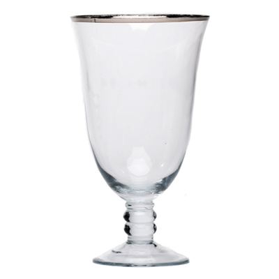 SILVER RIMMED WATER GOBLET