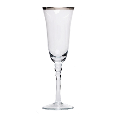 SILVER RIMMED CHAMPAGNE GLASS