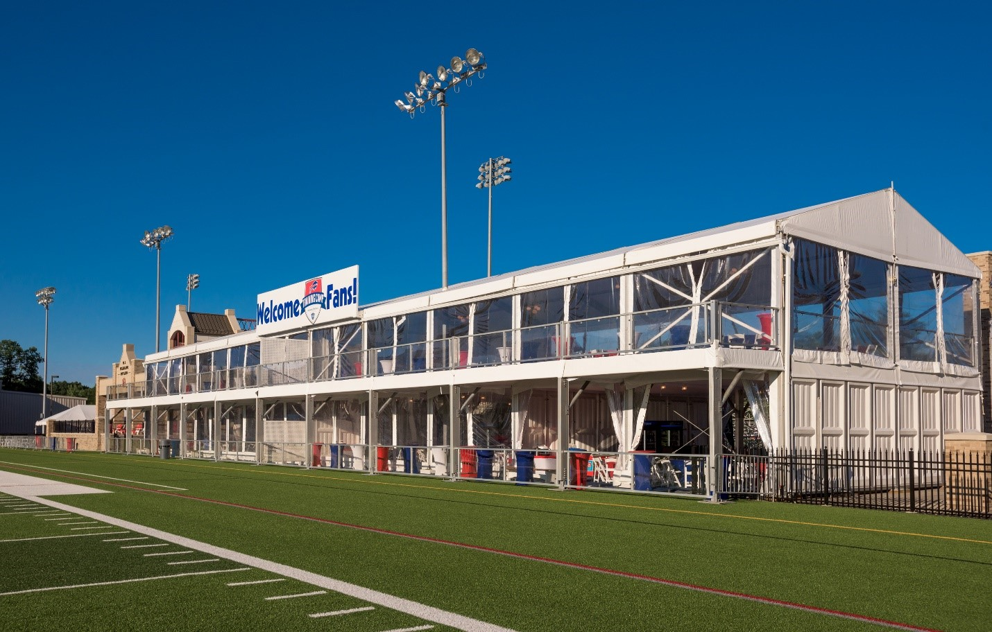 HANK PARKER'S RENTAL DOUBLE DECKER TENT RENTALS BUFFALO BILLS TRAINING CAMP