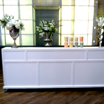 8' WHITE WOODEN BAR