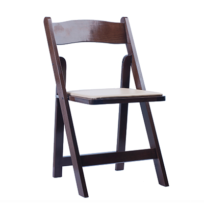 WALNUT PADDED FOLDING CHAIR